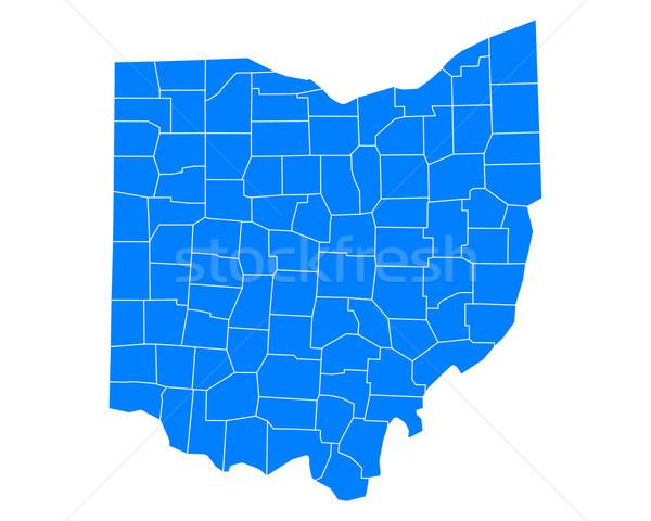 Kaart Ohio achtergrond Blauw lijn USA Stockfoto © rbiedermann