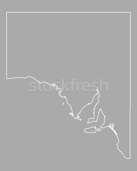 Térkép Dél-Ausztrália Ausztrália izolált illusztráció szürke Stock fotó © rbiedermann