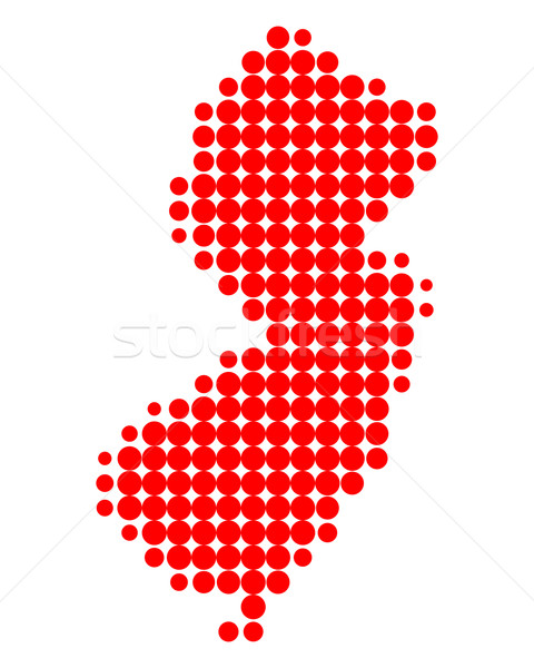 Harita New Jersey kırmızı model Amerika daire Stok fotoğraf © rbiedermann
