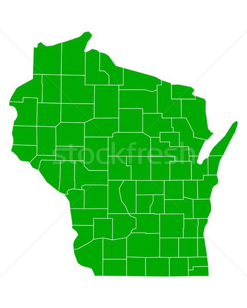 карта Висконсин фон зеленый линия США Сток-фото © rbiedermann