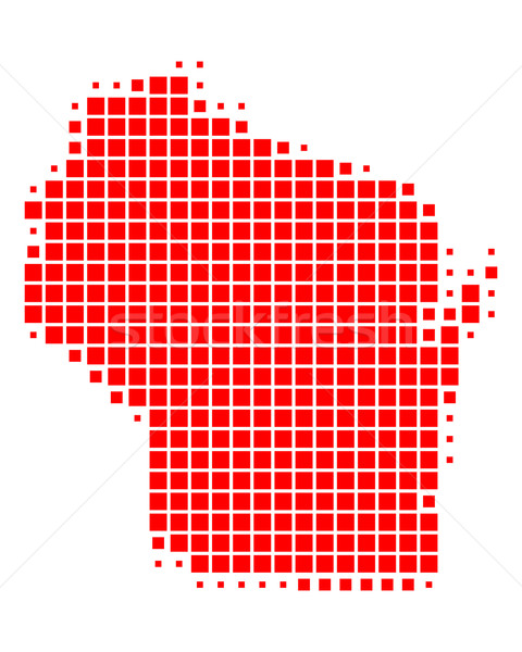 карта Висконсин красный шаблон США квадратный Сток-фото © rbiedermann