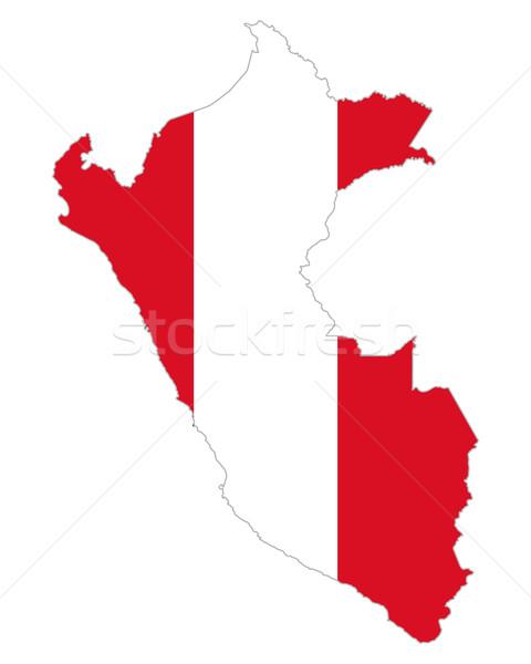 Harita bayrak Peru arka plan seyahat Stok fotoğraf © rbiedermann