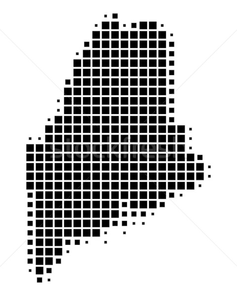 Stockfoto: Kaart · Maine · zwarte · patroon · amerika · vierkante
