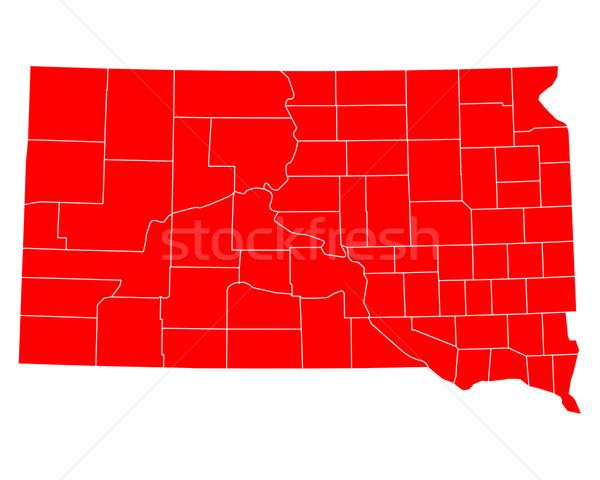 Kaart South Dakota Rood USA vector geïsoleerd Stockfoto © rbiedermann