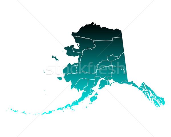 Carte Alaska vert bleu Voyage USA Photo stock © rbiedermann