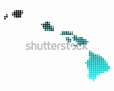 Harita Hawaii yeşil mavi ada model Stok fotoğraf © rbiedermann