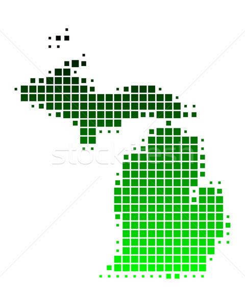 Térkép Michigan zöld minta Amerika USA Stock fotó © rbiedermann