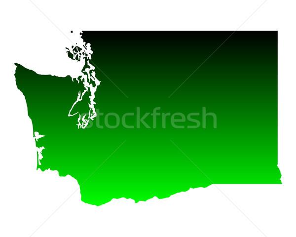 Harita Washington yeşil seyahat Amerika ABD Stok fotoğraf © rbiedermann
