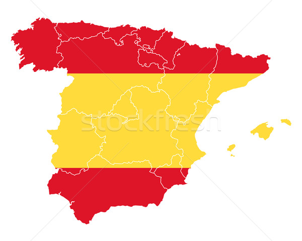 Map and flag of Spain Stock photo © rbiedermann