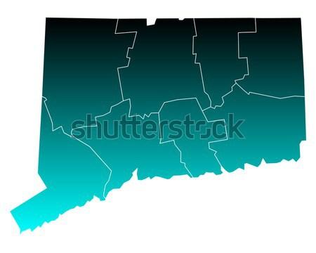 Harita Connecticut arka plan yeşil hat vektör Stok fotoğraf © rbiedermann