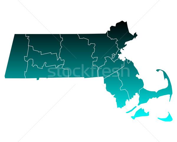 карта Массачусетс зеленый синий путешествия США Сток-фото © rbiedermann