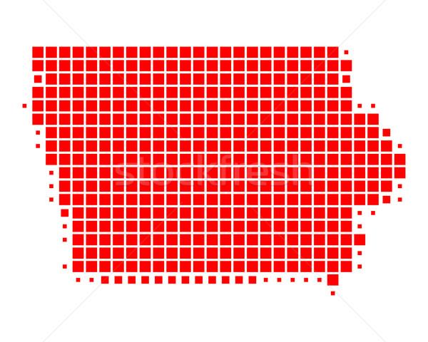 Térkép Iowa piros minta Amerika tér Stock fotó © rbiedermann
