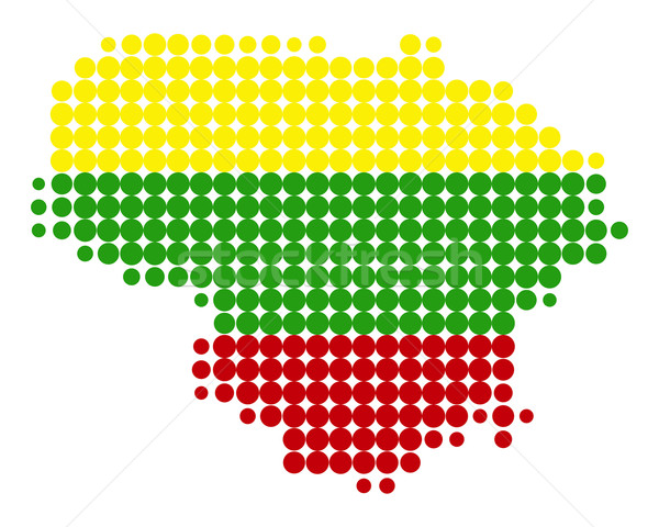 Map and flag of Lithuania Stock photo © rbiedermann