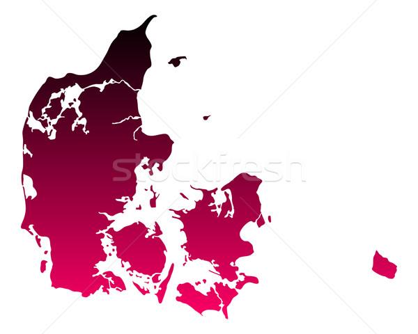 карта Дания путешествия розовый Purple вектора Сток-фото © rbiedermann