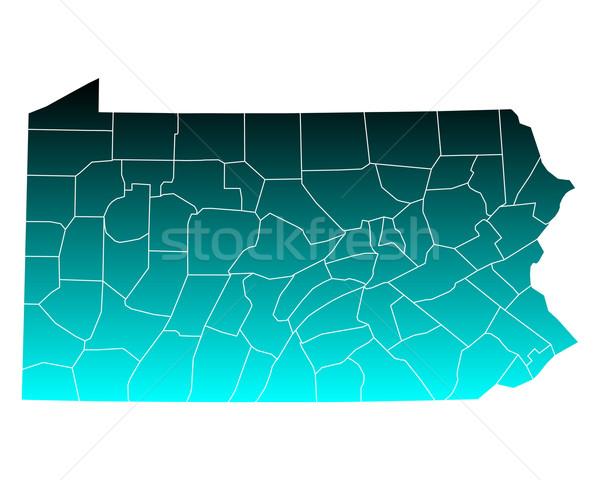 Térkép Pennsylvania zöld kék utazás USA Stock fotó © rbiedermann