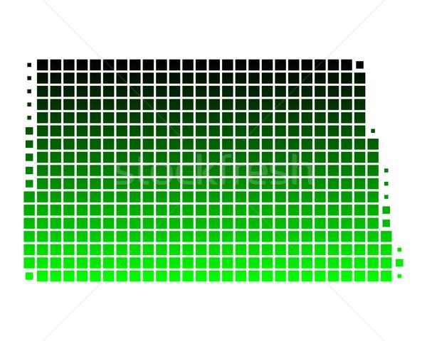 Kaart North Dakota groene patroon amerika vierkante Stockfoto © rbiedermann