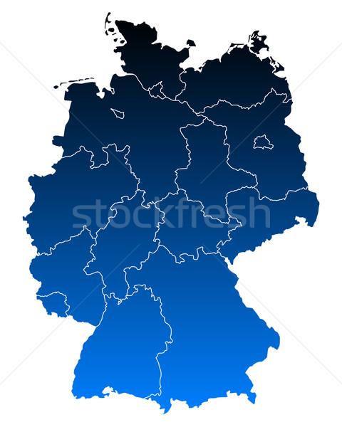 Сток-фото: карта · Германия · фон · синий · путешествия · линия