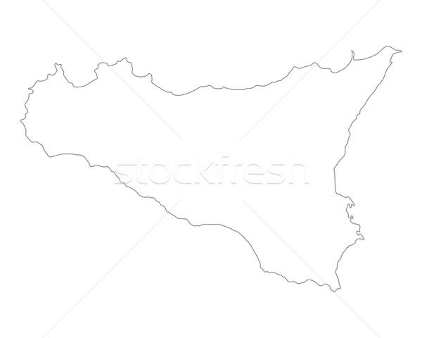 Mapa sicilia isla Italia aislado ilustración Foto stock © rbiedermann