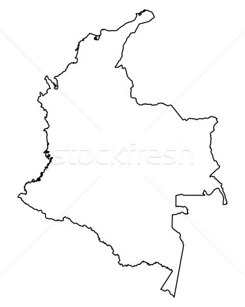 Kaart Colombia achtergrond geïsoleerd illustratie Stockfoto © rbiedermann