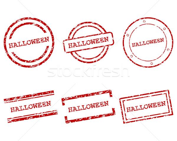 Halloween pulları dizayn mektup damga etiket Stok fotoğraf © rbiedermann