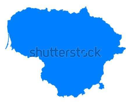 Kaart Litouwen Blauw reizen vector Stockfoto © rbiedermann