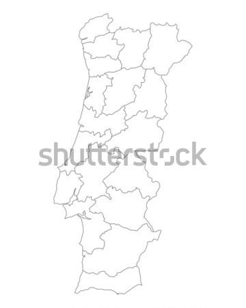 Mapa Portugal vetor isolado ilustração cinza Foto stock © rbiedermann