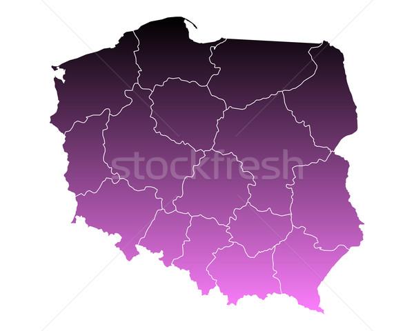 Carte Pologne Voyage rose isolé illustration Photo stock © rbiedermann