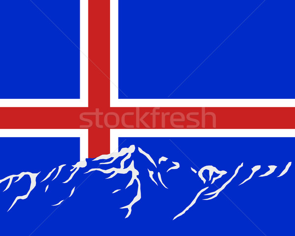 Mountains with flag of Iceland Stock photo © rbiedermann