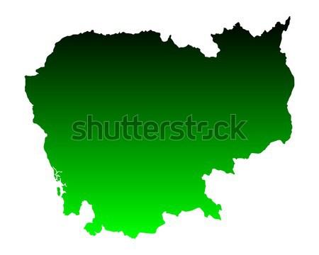 Mapa Camboja verde viajar vetor Foto stock © rbiedermann