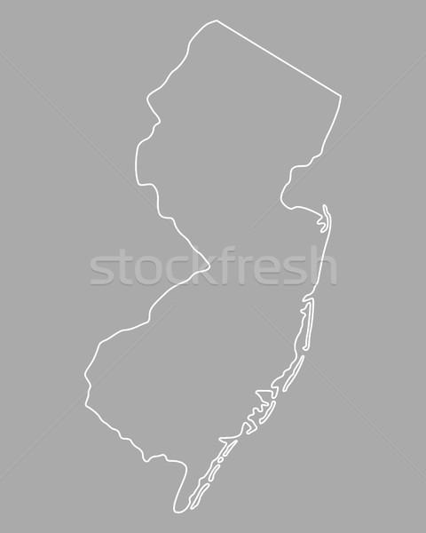 Kaart New Jersey achtergrond witte lijn USA Stockfoto © rbiedermann