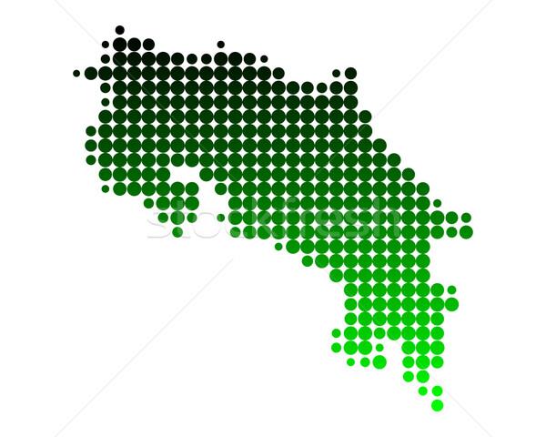 Térkép Costa Rica zöld minta kör pont Stock fotó © rbiedermann