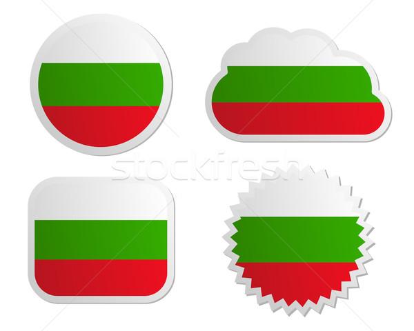 Bulgária zászló címkék papír terv felirat Stock fotó © rbiedermann