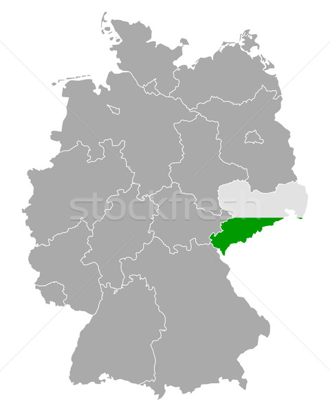 Map of Germany with flag of Saxony Stock photo © rbiedermann