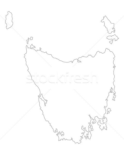 Kaart tasmanië vector geïsoleerd illustratie grijs Stockfoto © rbiedermann