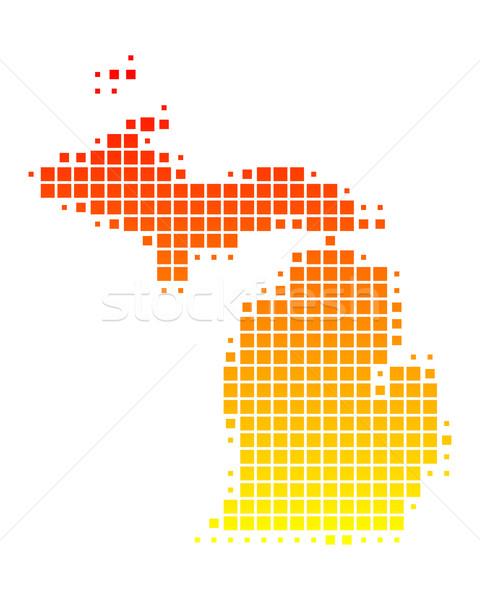 Mapa Michigan patrón América EUA cuadrados Foto stock © rbiedermann