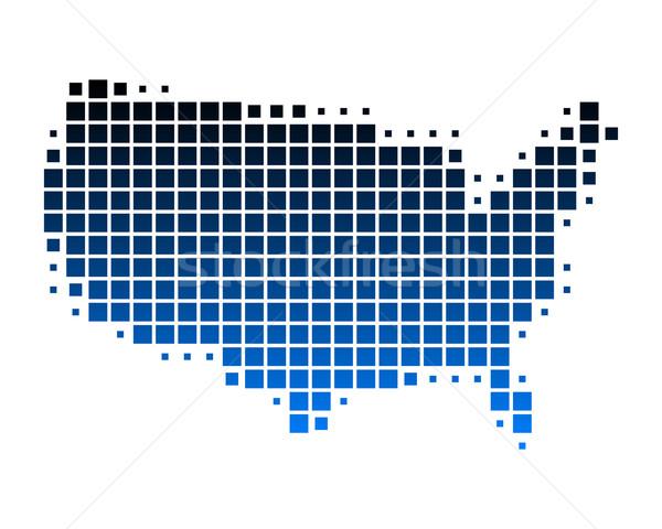 Térkép Egyesült Államok Amerika kék minta Stock fotó © rbiedermann