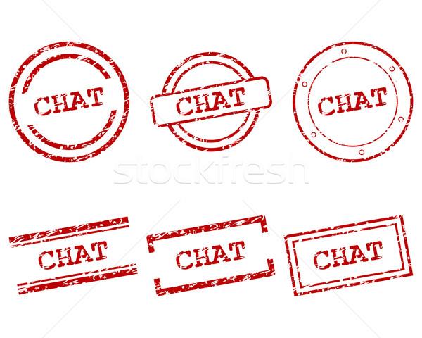 Stockfoto: Chat · postzegels · stempel · grafische · tag · zegel