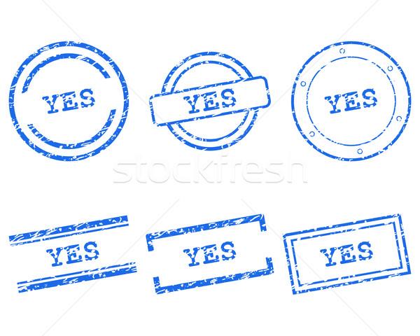 Evet pulları damga grafik etiket mühürlemek Stok fotoğraf © rbiedermann