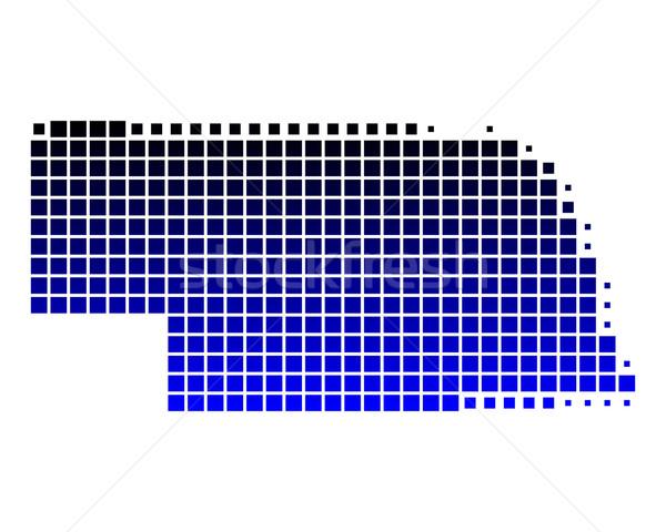 Mapa Nebraska azul padrão américa praça Foto stock © rbiedermann