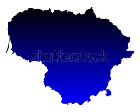 Térkép Litvánia kék utazás vektor Stock fotó © rbiedermann