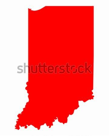 Mapa Indiana viajar vermelho américa EUA Foto stock © rbiedermann