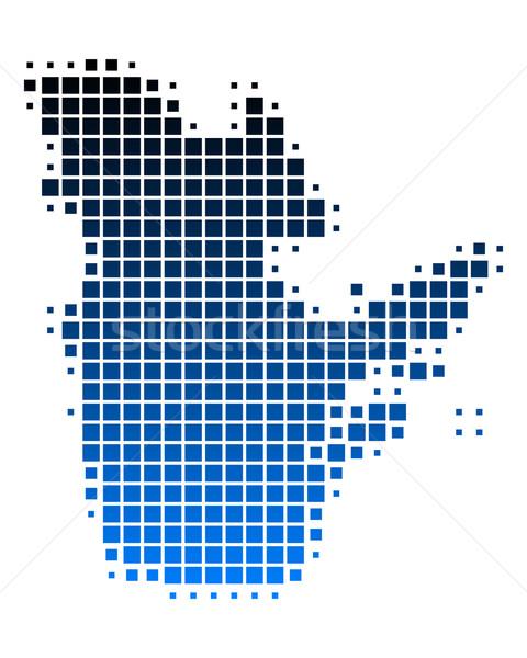 Harita Quebec mavi model kare vektör Stok fotoğraf © rbiedermann
