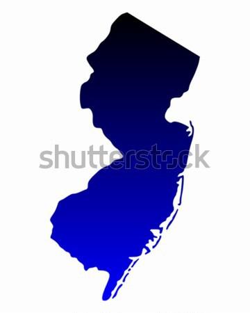 Сток-фото: карта · Нью-Джерси · путешествия · черный · Америки · США