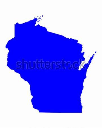 карта Висконсин синий путешествия Америки США Сток-фото © rbiedermann