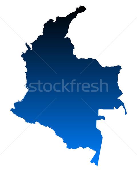 Térkép Colombia kék utazás vektor Stock fotó © rbiedermann