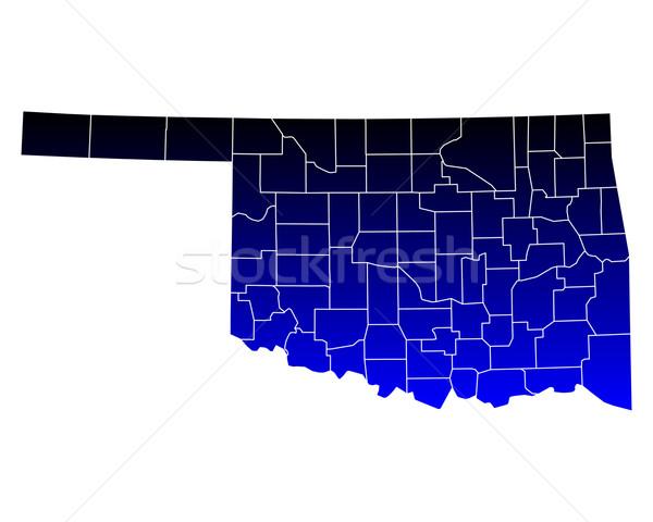 Mapa Oklahoma azul viajar EUA isolado Foto stock © rbiedermann