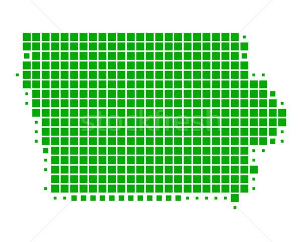 Térkép Iowa zöld minta Amerika tér Stock fotó © rbiedermann