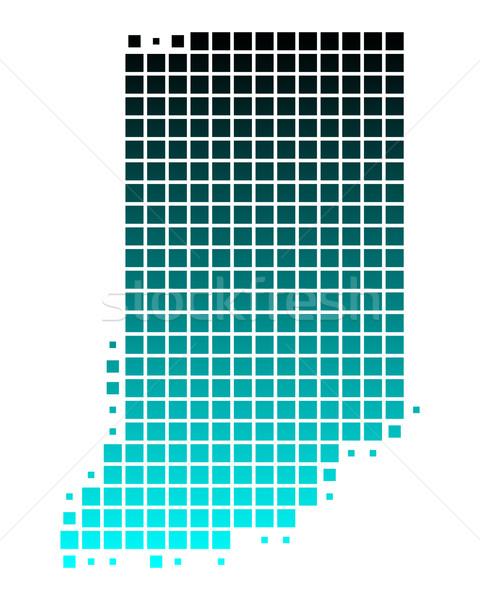 Mapa Indiana verde azul padrão américa Foto stock © rbiedermann
