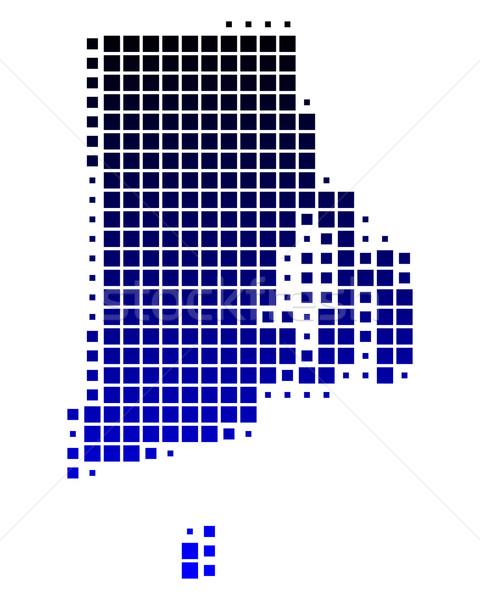 Mapa Rhode Island azul padrão EUA praça Foto stock © rbiedermann