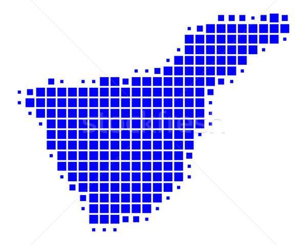 Kaart tenerife Blauw reizen patroon vierkante Stockfoto © rbiedermann
